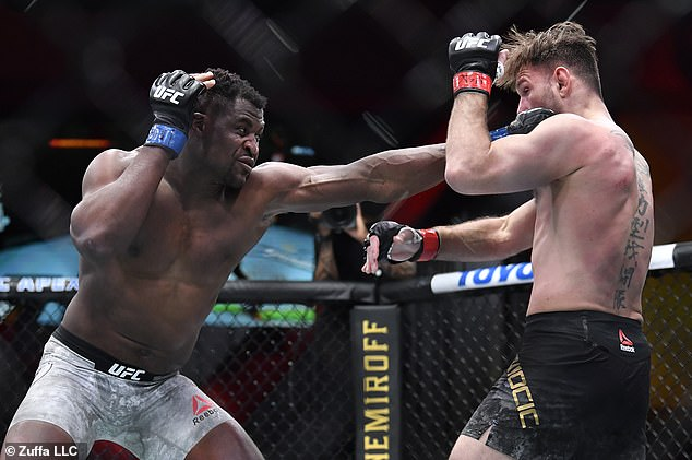Fight:Although it was unclear who Barker and Kardashian were rooting for, Francis Ngannou of Cameroon delivered the perfect punch to solidify his victory over opponent Stipe Miocic