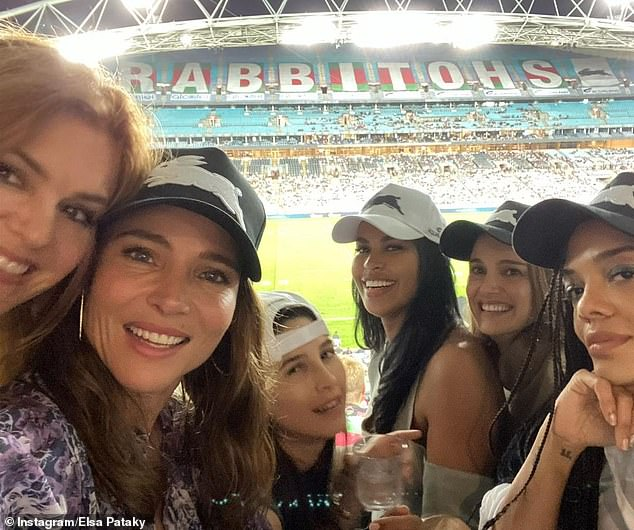Famous gal pals: Elsa Pataky (pictured far left with Isla Fisher), reflected on a 'great night' at the rugby league in Sydney on Friday with her A-list pals. Pictured on the right is Idris Elba's wife Sabrina Dhowre Elba, Natalie Portman and Tessa Thompson