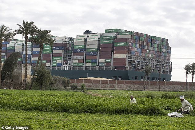 The Ever Given is wedged about 6 kilometers (3.7 miles) north of the canal's Red Sea entrance near the city of Suez. A prolonged closure of the crucial waterway would cause delays in the global shipping chain