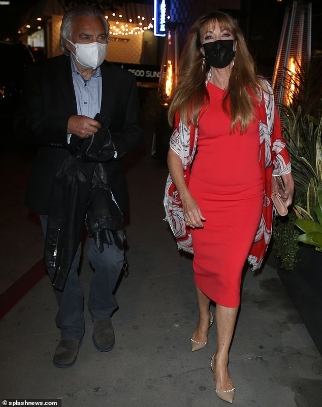 Wow!  In March, shortly after her 70th birthday in February, Jane flaunted her timeless beauty in a bodycon red dress and patterned shawl as she arrived at the Sunset Strip in Los Angeles with her partner David Green.