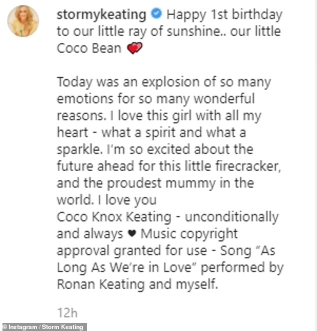'Our little ray of sunshine':Ronan's wife admitted Coco's big day was 'an explosion of emotions' as she said her mini-me made her 'the proudest mummy in the world'