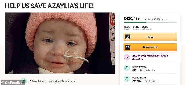 Support:Ashley's GoFundMe has alrady raised over £400,000 of their £1million goal