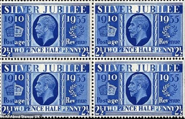 Also on sale with the auctioneers are the rare 1935 Silver Jubilee 'Prussian Blue' George V stamps