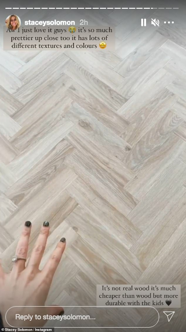 'I just love it guys':She gushed over the flooring which she said was 'so much prettier up close' and has 'lots of different textures and colours'