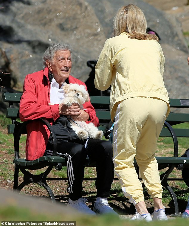 Photo op: At one point, the 94-year old was seen posing for a picture in Central Park with his cute Maltese pup Happy
