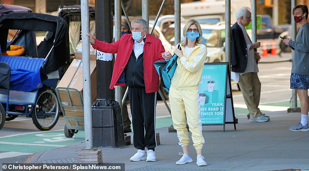 Not taking chances: Both Bennett and Crow wore facial coverings to keep themselves protected from COVID-19 while spending time in public