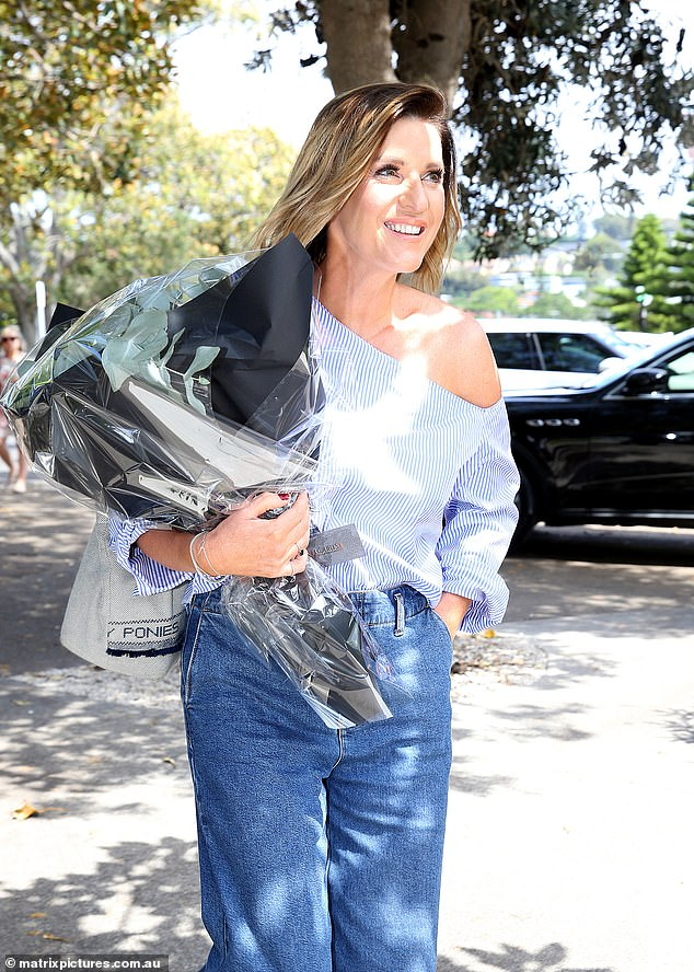 Impromptu get-together: Kylie, 53, said on The Kyle and Jackie O Show on Monday that Sam hadn't actually planned a send-off, but decided to do something at the last minute when Kylie asked her what she was doing that afternoon. Kylie is pictured arriving for the late lunch at Catalina Restaurant in Sydney's Rose Bay on March 11