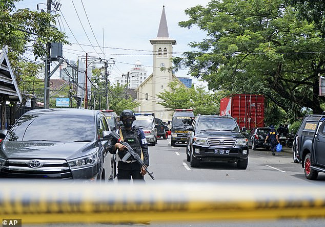 At least 20 people were injured the blast outside a Catholic church in Makassar, South Sulawesi, Indonesia on Sunday morning