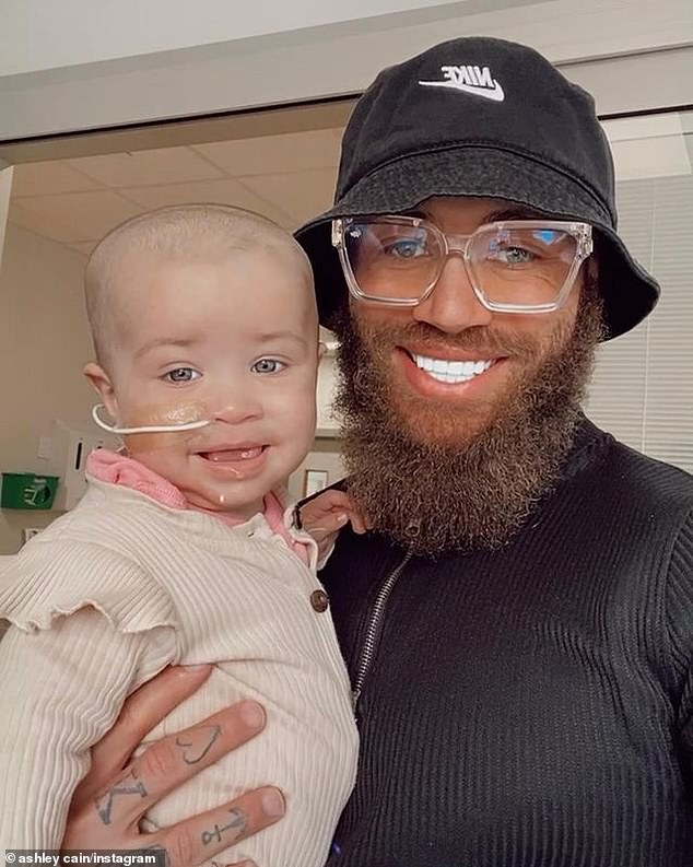 Loving:Former Ex On The Beach star Ashley, 30, took to social media to ask fans for help in donating, explaining the treatment his daughter needs is available in Singapore