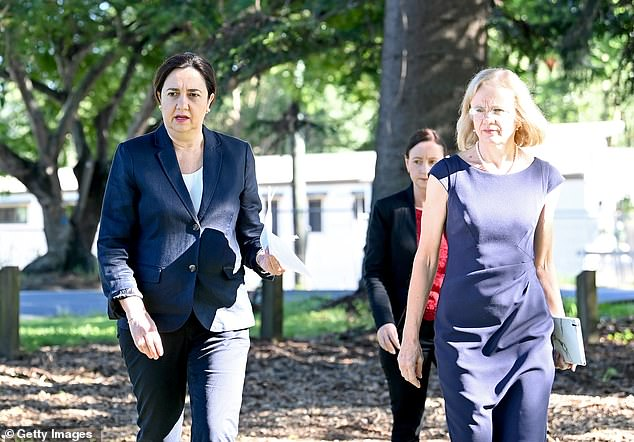 Queensland Chief Health Officer Dr Jeannette Young withPremier Annastacia Palazczuk on Monday morning. Dr Young had promised earlier this month not to send Brisbane into a full lockdown again if there was another outbreak
