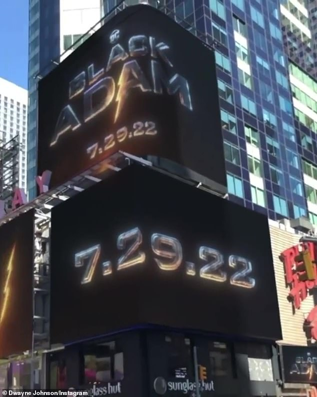 Big reveal: Taking to his Instagram, the actor and wrestler shared video showing New York's Times Square revealing the premiere date in flashing neon lights