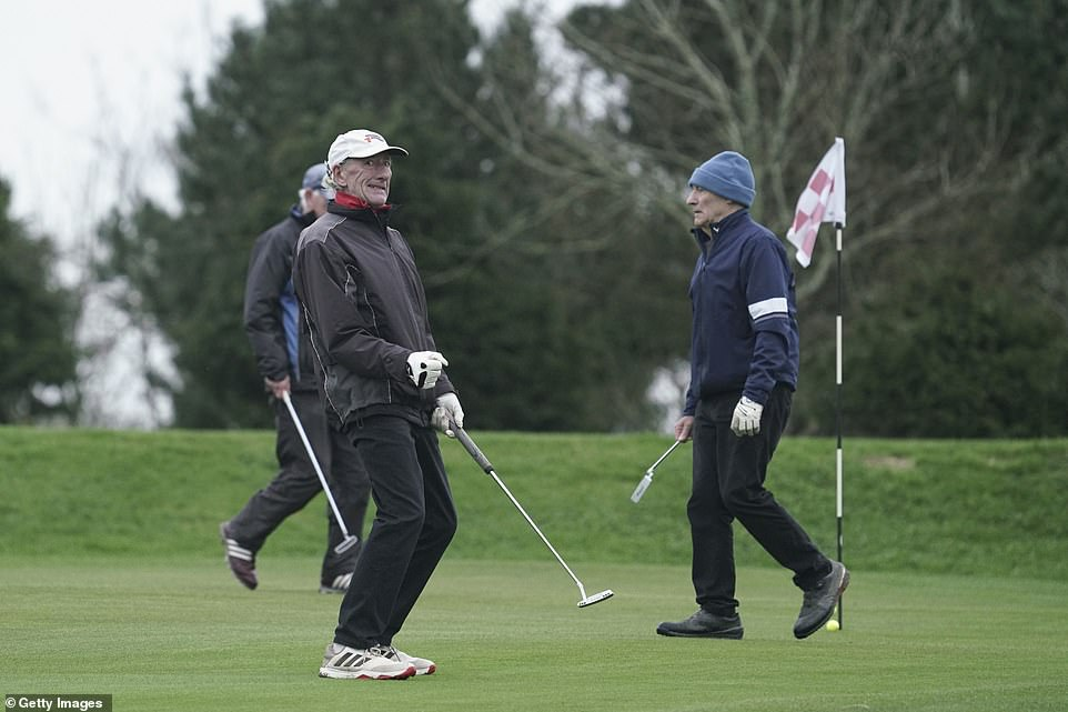 The first party of golfers return to playing at Falmouth Golf Club today after many months where golf had been banned