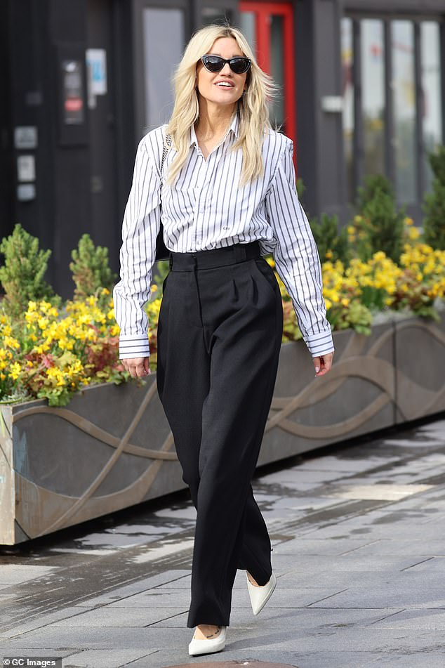 Looking good: Ashley Roberts cut a typically trendy figure as she departed Global Studios after co-hosting Heart Breakfast on Monday