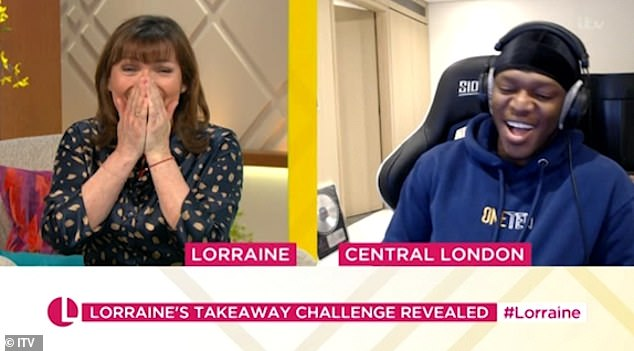 Apology: Lorraine Kelly apologised to KSI as she welcomed him back to her show on Monday, following her 'very strange' antics just one week beforehand