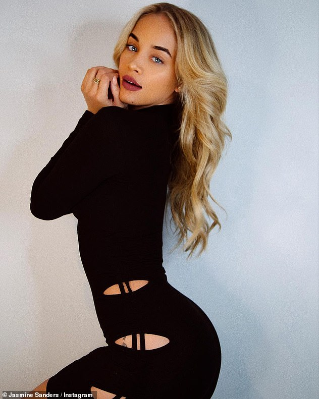 Stunning: Jasmine Sanders looked incredible as she showed off her model figure in a black mini dress with cut-outs from PrettyLittleThing in an Instagram snap on Friday