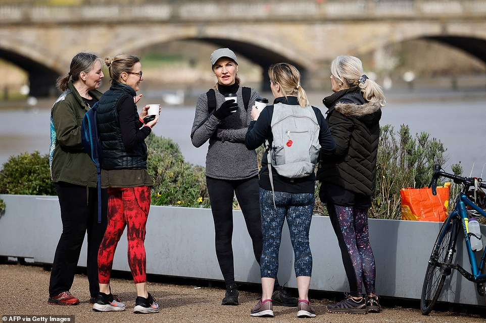 A small group chat over cups of coffee in Hyde Park in London this morning as the rule of six came back into force
