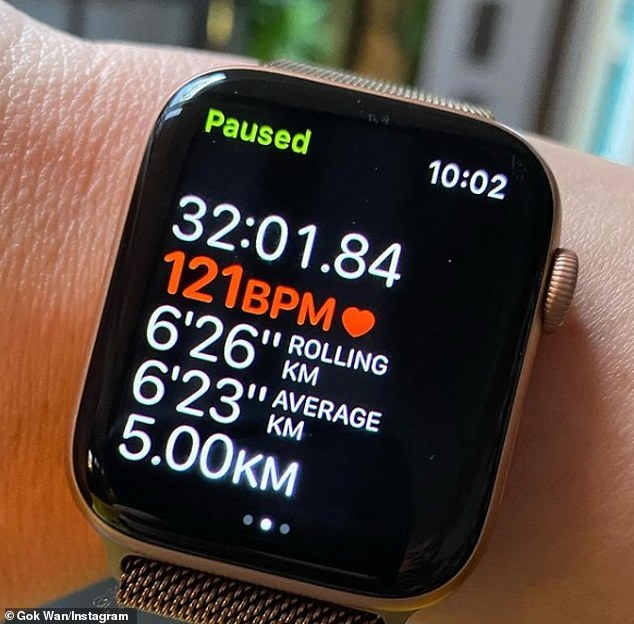 Great job: After his first snap, Gok revealed that while he didn't reach his goal of 6k he did manage to run 5k at a faster time than he's done previously