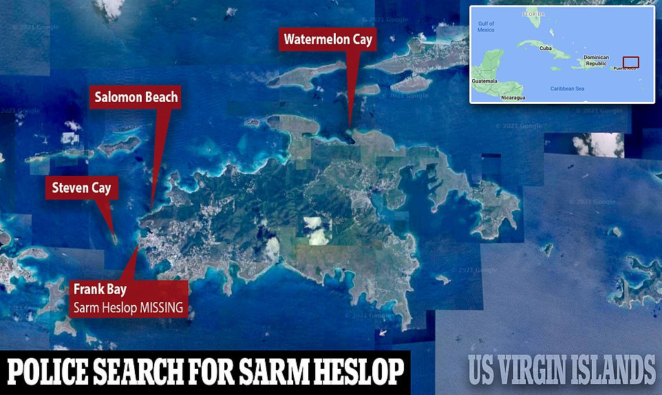 Police searching for Sarm Heslop have narrowed their search to a series of uninhabited islands and coves, DailyMail.com can reveal.The areas being searched include Steven Cay, Salomon Beach and Watermelon Cay