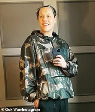 Slim: Gok's weight loss was noticeable as he wore a baggy camouflage-print hoodie and black-and-white Adidas trousers that fit loosely on his legs