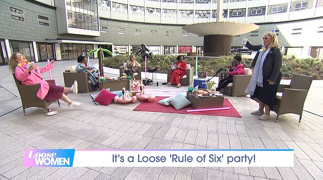 Rule of six party: Six Loose Women panellists joined forces for an al fresco picnic outside ITV's London studios on Monday, as they celebrated the loosening of lockdown rules