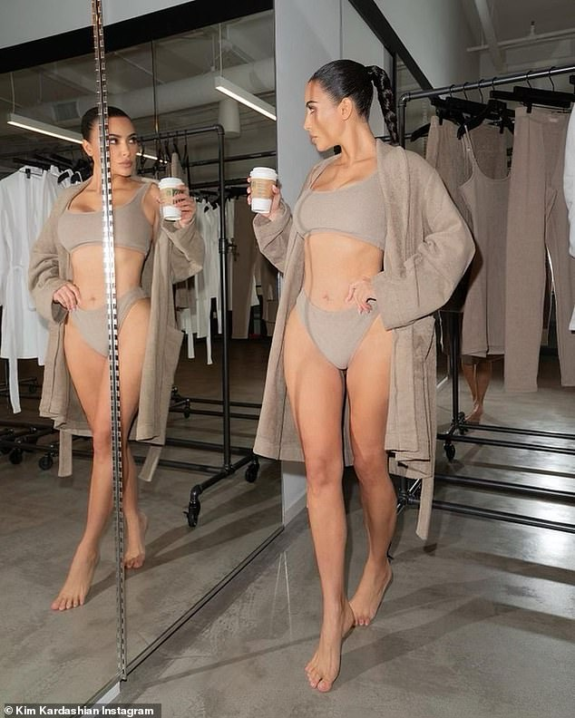 Cozy: She wore a bralette and panties with an enveloping robe that reached down to her knees
