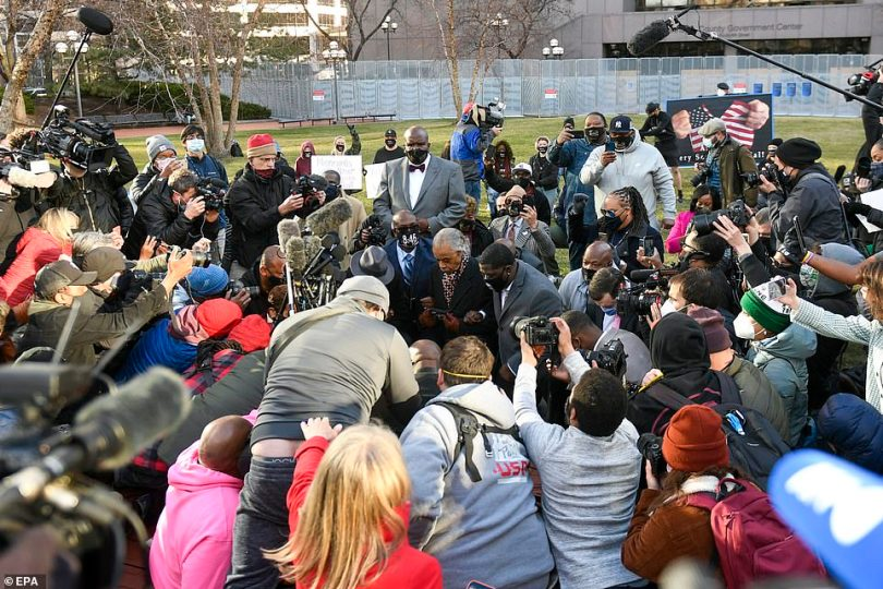 Floyd's nephew, Williams, told the crowd: 'If this trial is hard, we got two justice systems in America — one for white America and one for Black America'