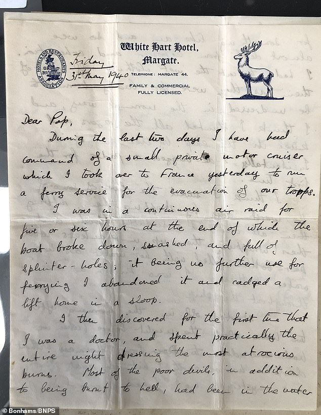 In his letter, Lt Bonham recounts pulling soldiers 'almost dead from exposure and exhaustion' aboard