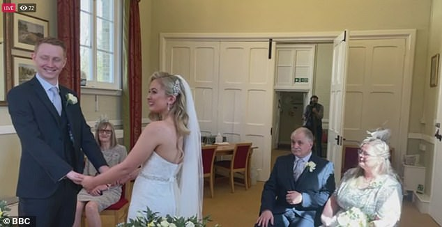 Jess and Jonny got married on a live stream so their loved ones from all over the world can watch them tie the knot, with only four guests present in Hampshire