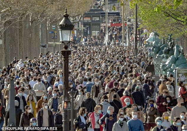 Crowds gather near the Champs-Elysees in Paris amid the Covid-19 outbreak on Monday
