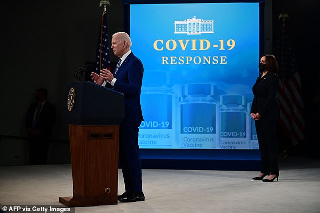 Biden also announced Monday that by April 19, there would be an inoculation site within five miles of 90% of Americans and those 18 and older will be eligible for the coronavirus vaccine