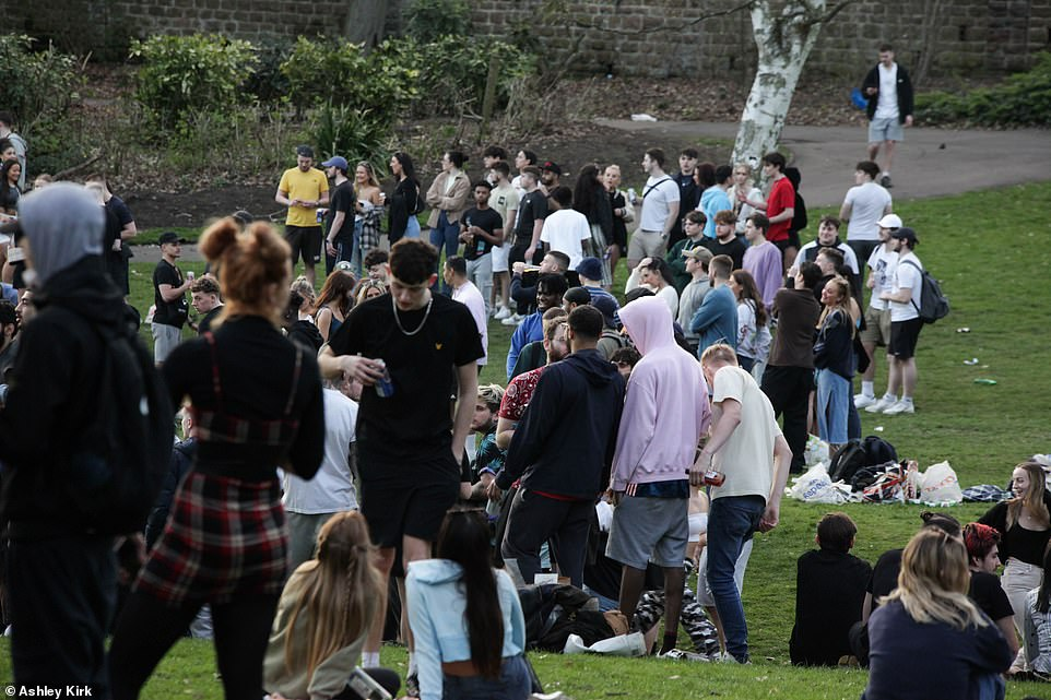 Crowds gathered at popular park in Nottingham on Monday as coronavirus restrictions were eased across England