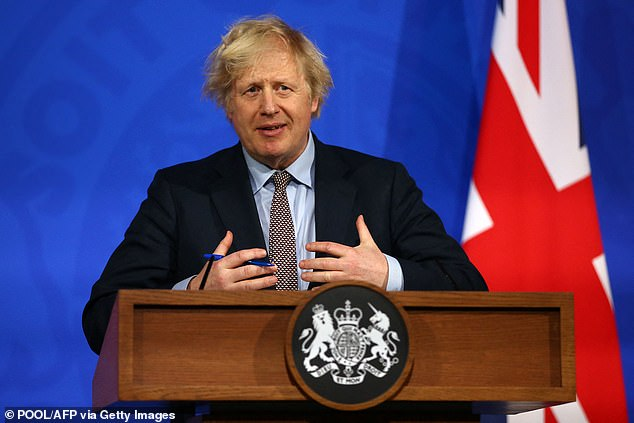 Boris Johnson  gives an update on the coronavirus Covid-19 pandemic during a virtual press conference