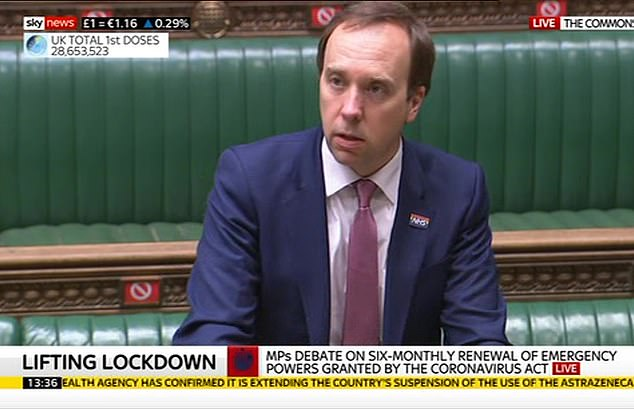 Matt Hancock said he had a 'lot of sympathy' for the travel industry but said the 'most important thing' was to protect the recovery here at home