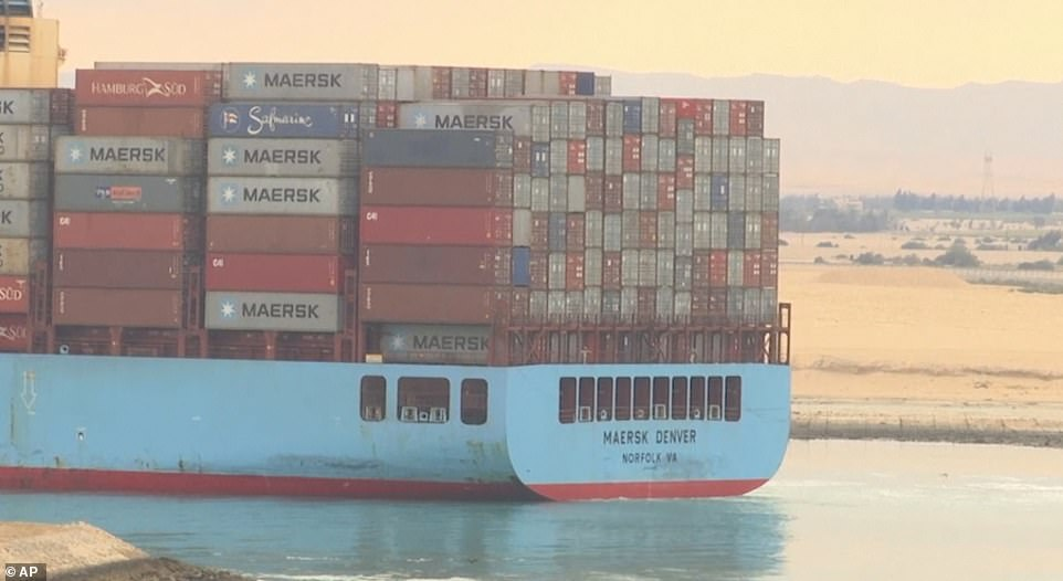The US-flagged Maersk Denver was also navigating the canal piled high with containers as traffic resumed a week after the Ever Given blockage which caused a traffic jam of more than 400 vessels on the busy waterway