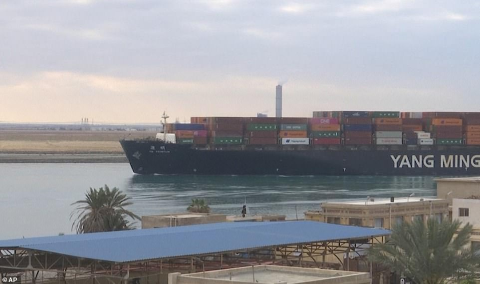 The Liberian-flagged container ship YM Fountain was among those to sail up the narrow section of the Suez Canal which had previously been blocked by the Ever Given in a damaging six-day stoppage