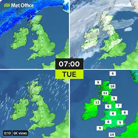 Tuesday will be warm, dry and sunny for much of the country - though weather warnings for rain remain in Scotland