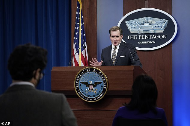 Pentagon press secretary John Kirby speaks during the briefing on Monday