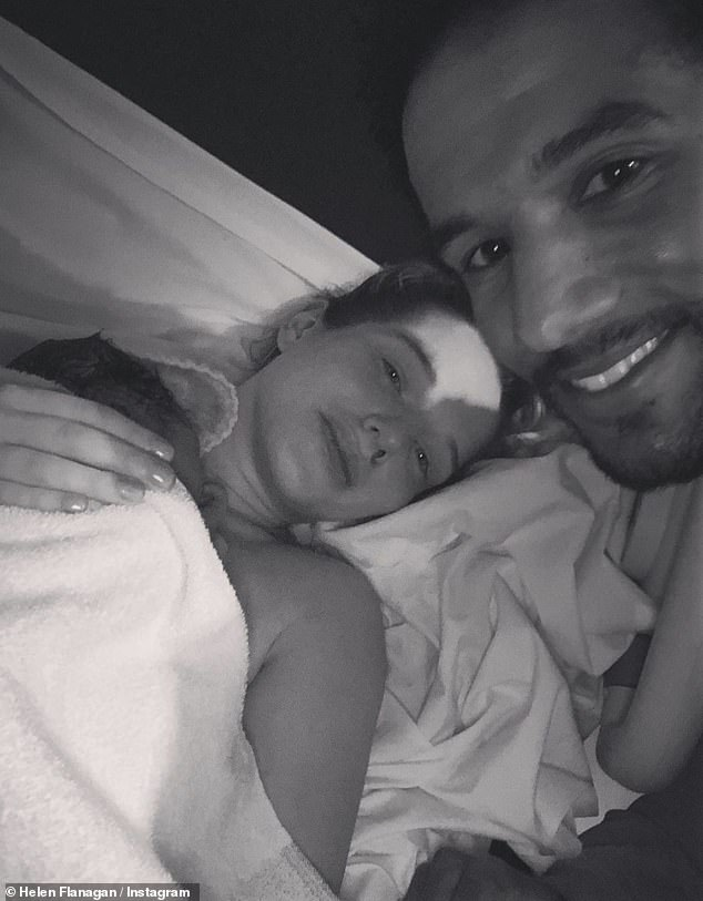 Family: Helen welcomed her third child with husband Scott Sinclair, 32, on Thursday, with the proud father confirming the happy news on Instagram