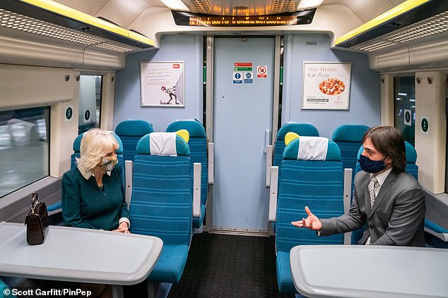 The royal was joined by staff aboard the train as she learned more about the scheme, which was due to end this week but has now been extended