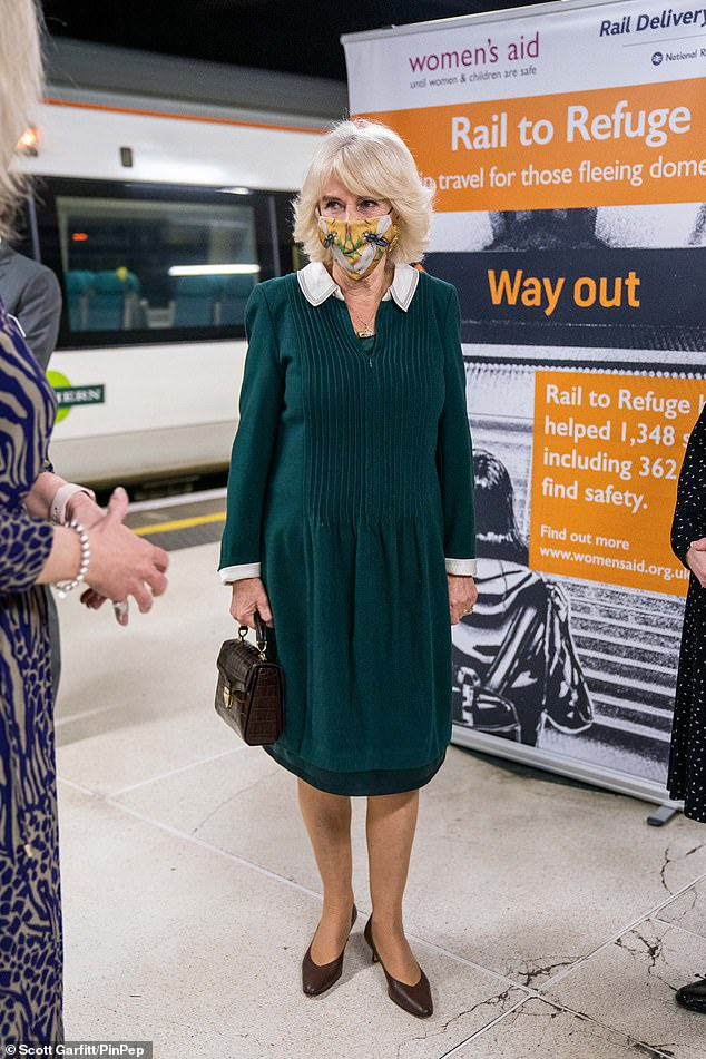 The Duchess of Cornwall, who wore her blonde hair coiffured away from her face, kept her makeup minimal and opted for a fine layering of mascara