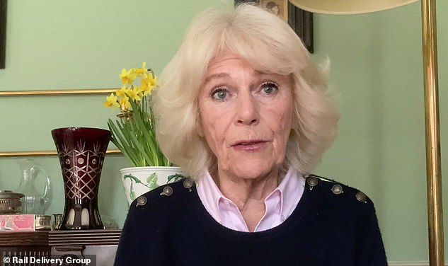 In a pre-recorded video message for the Rail to Refuge scheme last week, Camilla said she was 'delighted' that UK train companies are extending a scheme providing free rail travel to domestic abuse victims