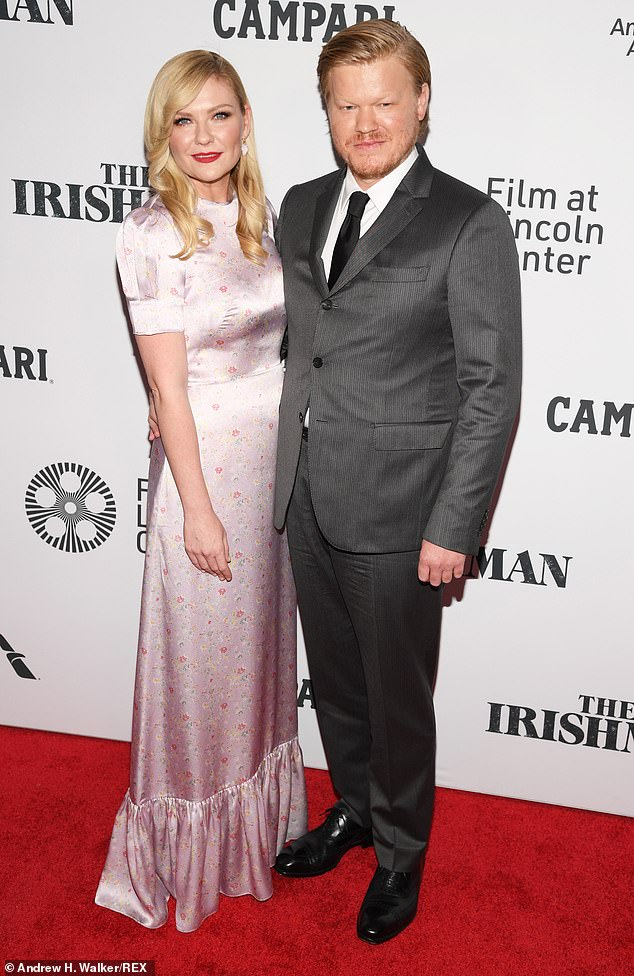 Lucky in love: She shares two-year-old son Ennis with fiance Jesse Plemmons. They met while working together on set of Fargo in 2016; seen in 2019