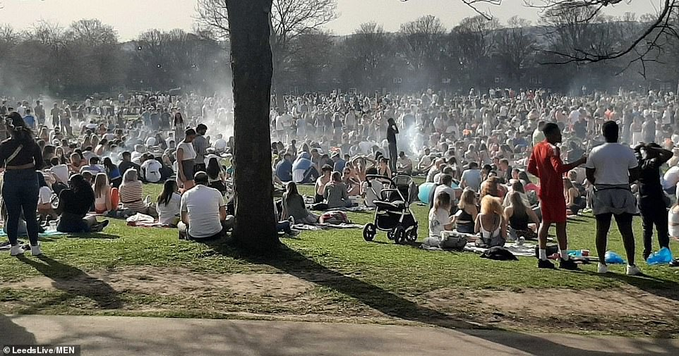 Hundreds of people flock to Woodhouse Moor in Leeds today as they make the most of the warm weather conditions