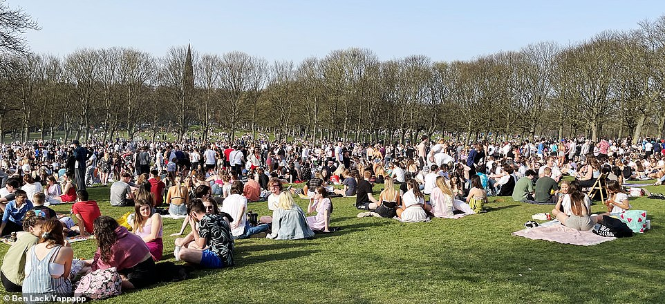 Thousands of people fill Woodhouse Moor in the Hyde Park area of Leeds this afternoon