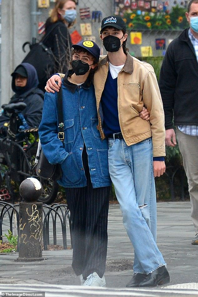 Affectionate: Ella Emhoff and rumored beau Samuel Hine are pictured out in Manhattan on Sunday