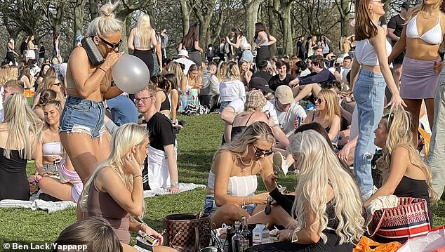 As of Monday, people are allowed to meet outside in groups of six. Pictured: Hyde Park, Leeds