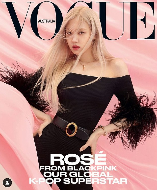 Cover girl: Australian K-pop star Rosé, from girl group Blackpink, looks glamorous in an edgy black jumpsuit on the cover of this month's Vogue Australia