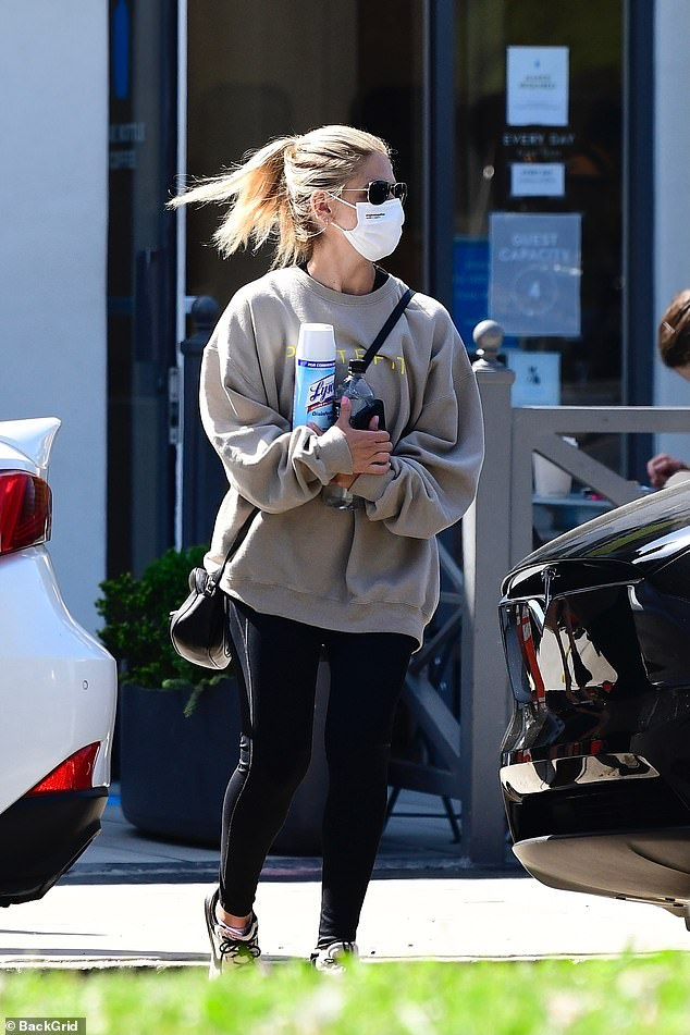 Classic:The 43-year-old actress sported an oversized sweatshirt with leggings after boasting about receiving her COVID-19 vaccine on Instagram