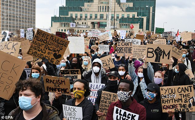 Britain is a model to the world of a successful multi-ethnic society, according to a major review. Pictured:Black Lives Matter protest in central London, 07 June, 2020