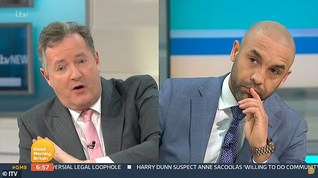 At odds: Piers quit GMB on March 9 after a heated on-air clash with Alex about his comments that he 'didn't believe a word' of Meghan's 'truth' on racism